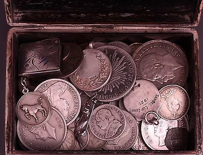 Antique Japenese Silver Cigarette box with 100+ Silver Content coins UK & World