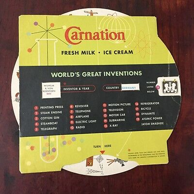 Vtg Advertising Dairy Carnation Milk Ice Cream World's Great Inventions 1950s