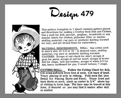 Vintage Mail Order Cowboy Sock  Doll & Clothes Fabric Material sew pattern #479
