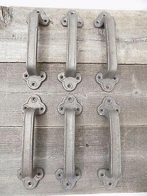 6 Cast Iron Handles Door Hardware Pull Gate Shed Drawer Cabinet Barn Shed Gate