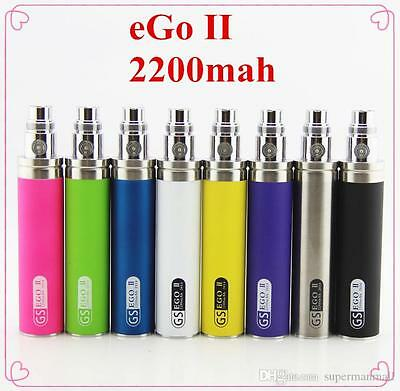 Genuine GS eGo II Mega 2200 mAh Battery 2017 Stock Adaptor with Free USB Charger
