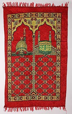 Islamic Prayer Rug with Dome of the Rock & Kaaba - Red