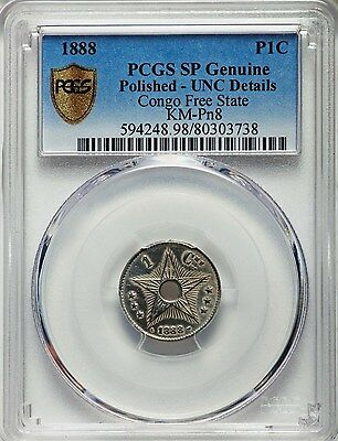 1888 Congo Free State Centime, Specimen Proof in Nickel, PCGS UNC - Polished