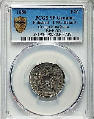 1888 Congo Free State 2 Centimes, Specimen Proof in Nickel, PCGS UNC - Polished