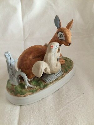 Vintage Figurine Baby Dear And Squirrel (white One)