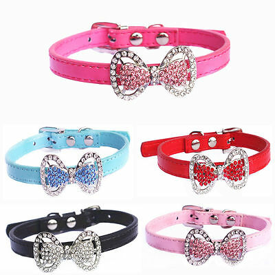 Crystal Bling Bowknot Pet Cat Kitten Puppy Suede Collar With Bell Hot
