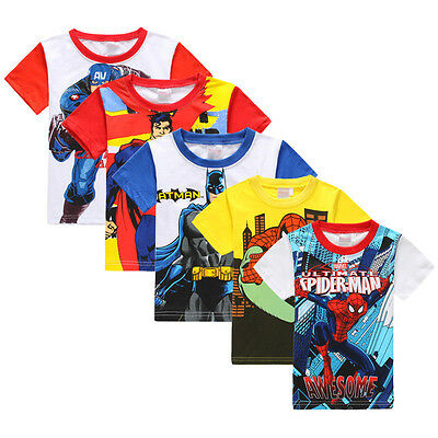 Toddler Kids Boys T shirt Short Sleeve Captain Spiderman Summer Tee Tops Shirts