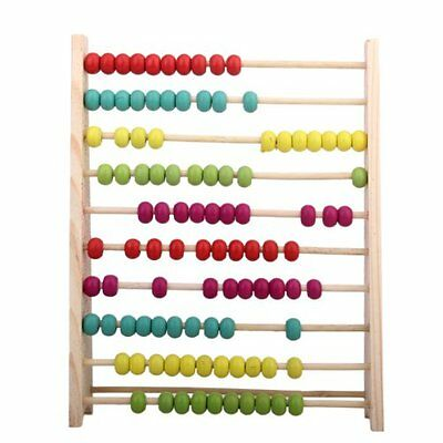 Wooden Abacus 10-row Colorful Beads Learn to Count Maths Kids Educational Toy US
