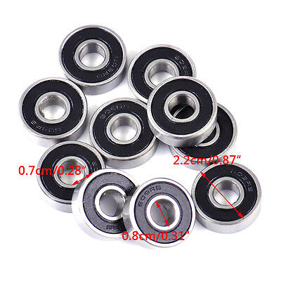 10Pcs 608-2RS 608 8x22x7mm Miniature Ball Bearings Deep Groove Steel Sealed