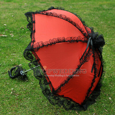 "25"" Victorian Art Ruffled Lace Sun Parasol Wedding Bridal Party Umbrella High Q"
