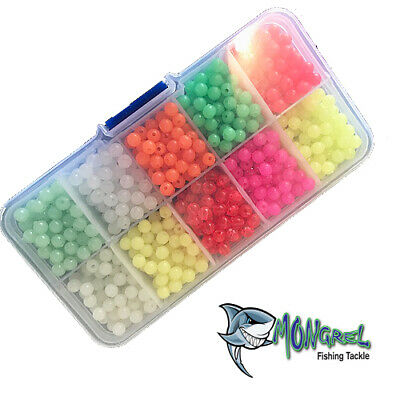 New 1000 Fishing Beads 5mm Plastic With Container Mixed Colour And Lumo
