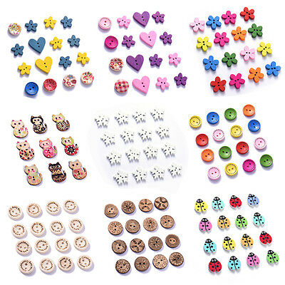 50/100pcs 8 Styles Wood Handmade 2 Holes Wooden Buttons Sewing Scrapbooking DIY
