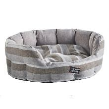 PET-302743 - Do Not Disturb Oval Bed Grey Stripe 45cm