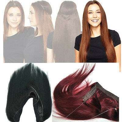 """16""""-30"""" Halo Remy Invisible Wire Human Hair Extensions Hidden Handband Real Hair"""