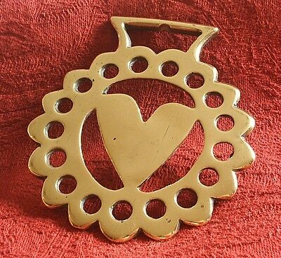 Antique Cast Horse Brass - A Hard To Find Heart Pattern