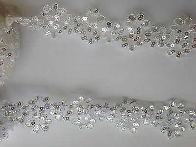 4 cm wide Sequins Ivory, White Fabric Flower Venice Lace Trim 1 yard