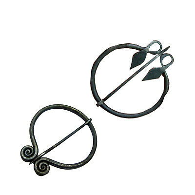 Celtic Spiral Penannular Brooch - Medieval Cloak Pin, Set Of 2 Pcs