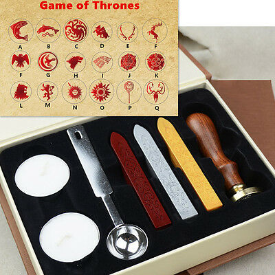 Game of the Thrones Vintage Copper Wax Seal Stamp Kits With Gift Box & Wax
