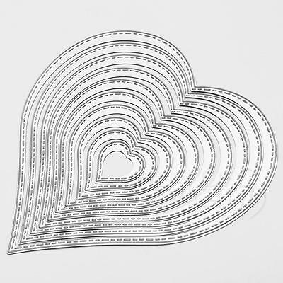 10pcs  Heart Metal Embossing Cutting Dies Stencil DIY Scrapbooking Album Card