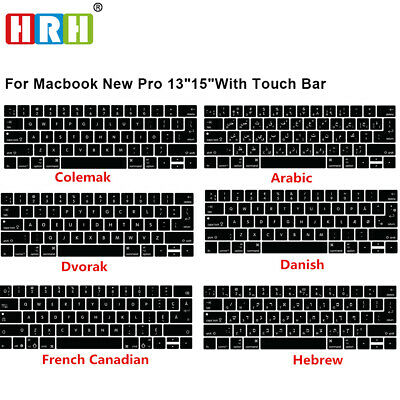 Language Silicone Keyboard Cover Keypad Skin For Macbook New Pro 13 15 Touch Bar