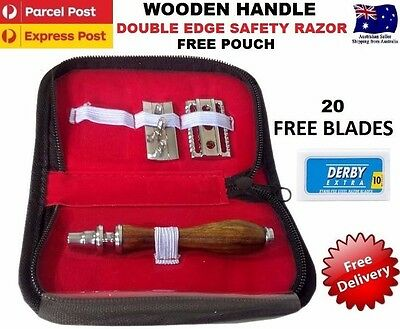 Wooden Handle Safety Razor Double Edge Razors + 20 Free Blades & Leather Pouch