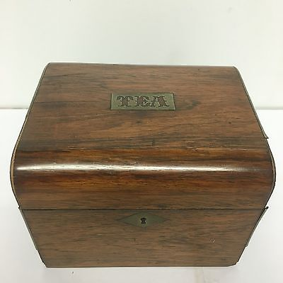 Antique Victorian Oak Brass Banded Tea Caddy Lovely Piece Single Section A/F