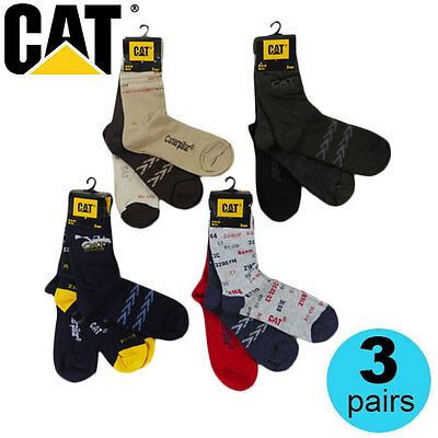 New Boys Licensed CAT Caterpillar Socks 3 Pair Pack 5 Styles Sizes 27-38 EU