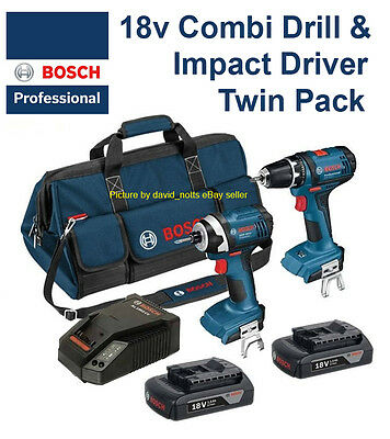 Bosch PRO 18V Li-ion Combi Drill & Impact Driver Twin Pack inc 2 Batteries!