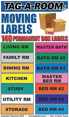 Tag-A-Room Moving Labels, 140 Count Color Coded Moving Stickers Labels, Moving