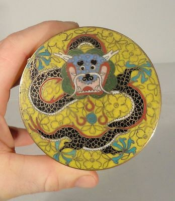 Antique Chinese Cloisonne Dragon Tea Caddy Yellow Ground Qing Box