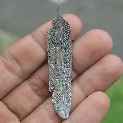 Bali Carving Hand Carved Paua Abalone Shell Feather 61x14mm P1501 Pendants Beads