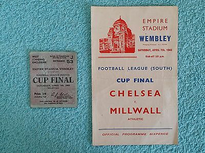 1945 - WAR CUP FINAL PROGRAMME + TICKET - F LEAGUE SOUTH - CHELSEA v MILLWALL