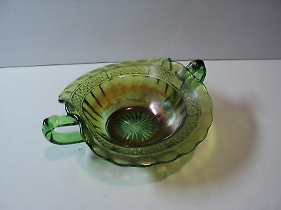 Vintage Northwood Green Carnival Iridescent Glass. Nappy Bowl with Handles