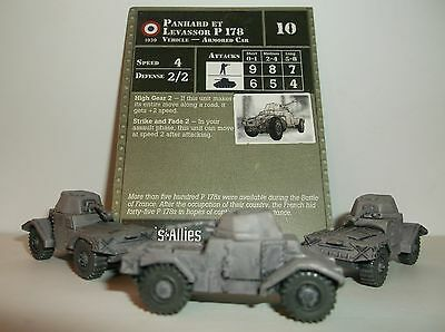 "Axis & Allies Panhard et Levassor P 178 #4 (3 Miniatures 1 Card) Reserves ""Used"""