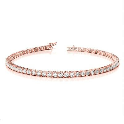 Rose Gold 2.50 Carat Round Diamond Claw Set Tennis Bracelet.
