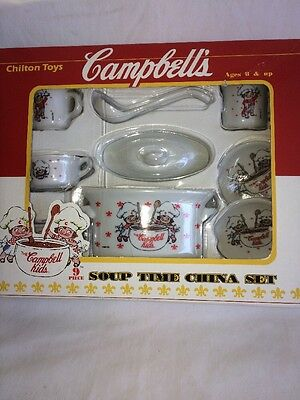 Campbell's ~ Chilton Toys ~ 9 Pc Soup Time China Set ~ Childrens ~ Toys ~ Glass