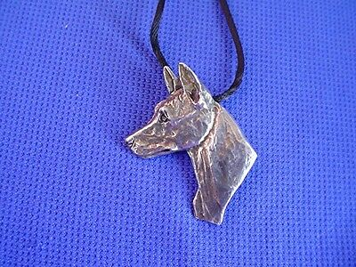 Basenji Head study necklace #40C Pewter African Dog Jewelry by Cindy A. Conter
