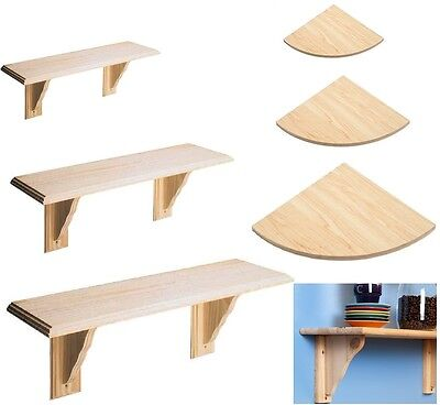 Wooden Natural Wood Shelf Kit & Fitting Storage Unit Wall Mounted Corner Shelves
