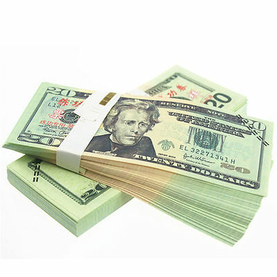 100PCS one SET Prop Money total $ 20 Full Print Stack for Movie, TV,Novelty