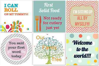 Baby first year milestone stickers for baby journal and photo album