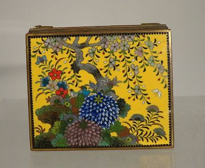 Antique Japanese Inaba Style Fine Cloisonne Box ENgraved Bronze Landscape
