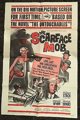 SCARFACE MOB 1sh '62 Barbara Nichols, cool art of Robert Stack as Eliot Ness!