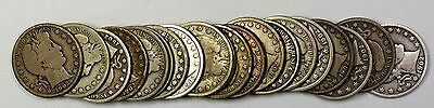 1907-S Barber Half Dollar 50c Roll 20 Circulated 90% Old Silver Coins Lot
