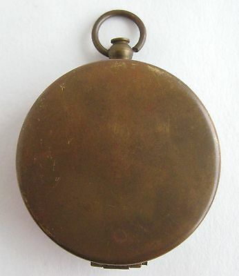 Vintage Brass Compass Stanley London Pocket or Pendant Hinged Compact Style Lid