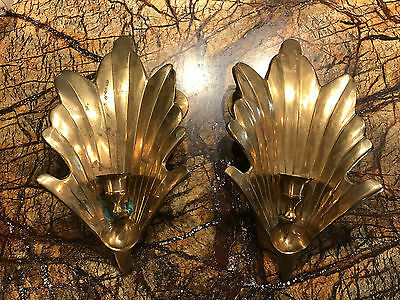Matching Pair Of Vintage Brass Wall Candle  Taper Holders