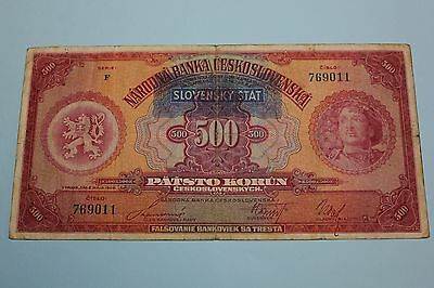 Slovakia 1939 1929 500 Korun Issued Note Banknote Pick#2A F No Specimen