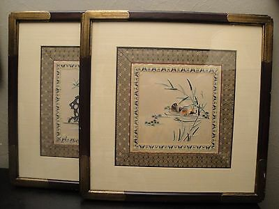 "2 Chinese Oriental Silk Embroidered Wall Art in Square 20"" Decorative Wood Frame"