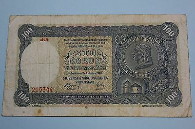 SLOVAKIA 1940 100 KORUN ISSUED NOTE BANKNOTE PICK#10a F