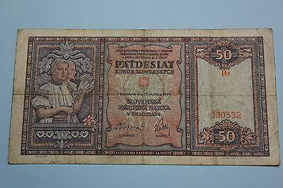 SLOVAKIA 1940 50 KORUN ISSUED NOTE BANKNOTE PICK#9a VG