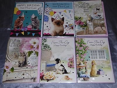 Birthday Card From The Cat Or Dog Traditional Cute From Pet To The Owner